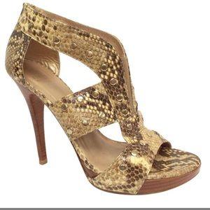 STUART WEITZMAN Snakeskin Studded Sandals